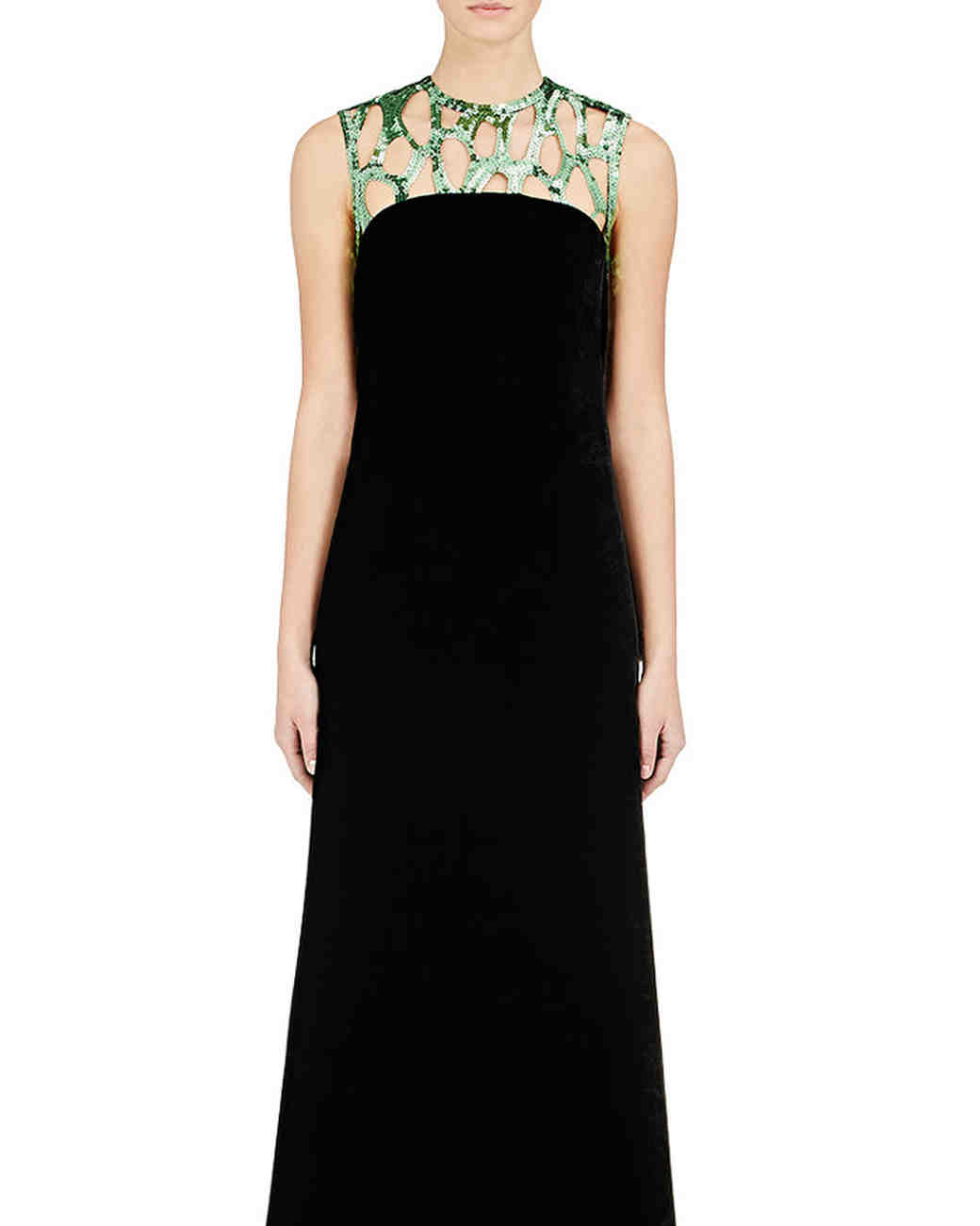 Black Velvet Gown with Gold Neckline