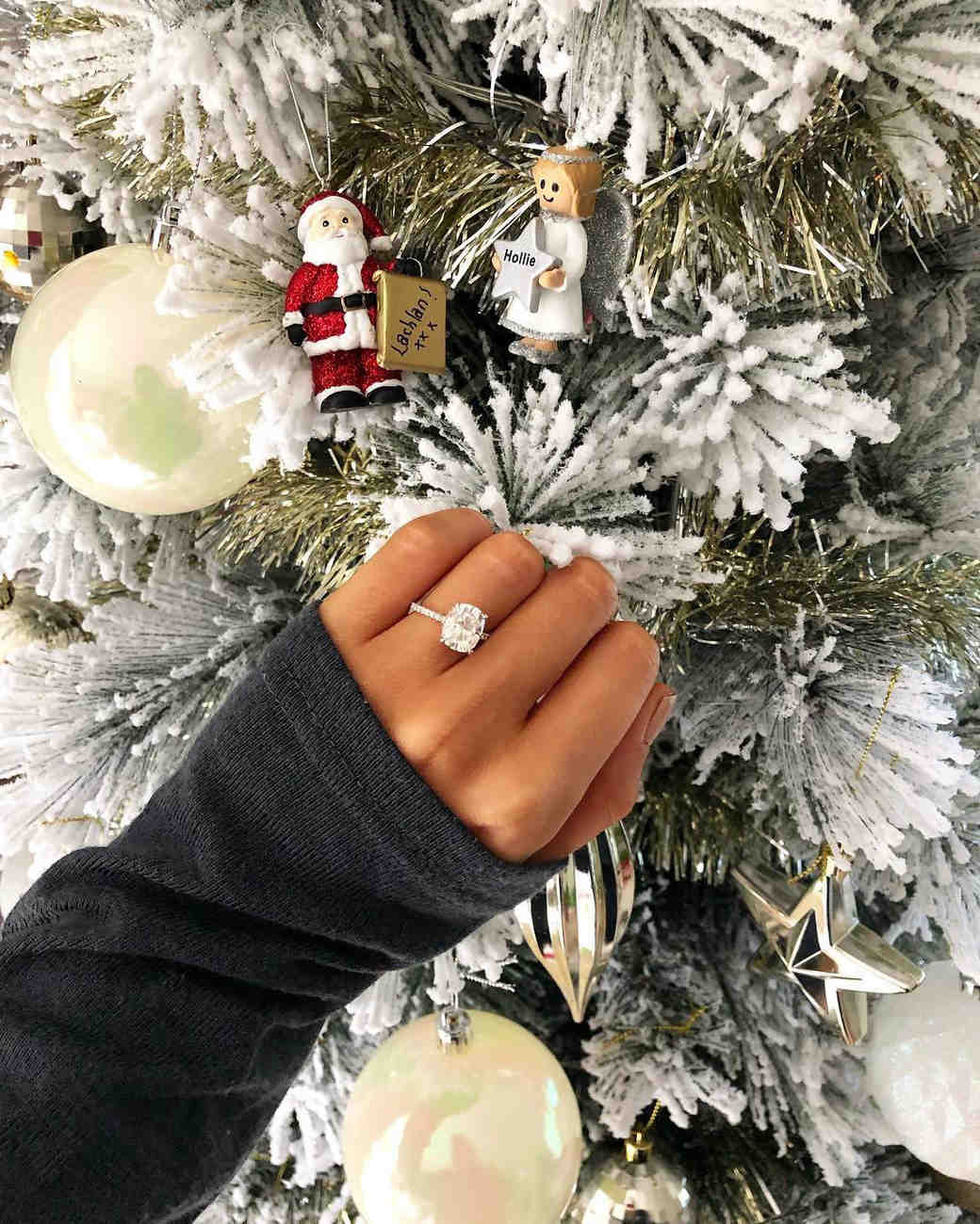 engagement ring selfie frosted christmas tree
