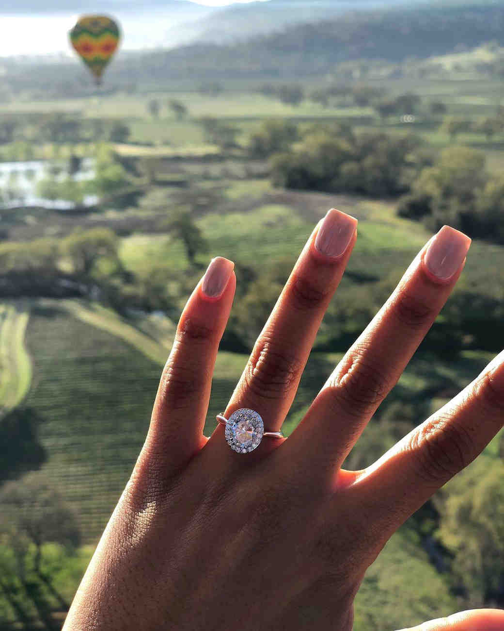 engagement ring selfie hot air balloon ride