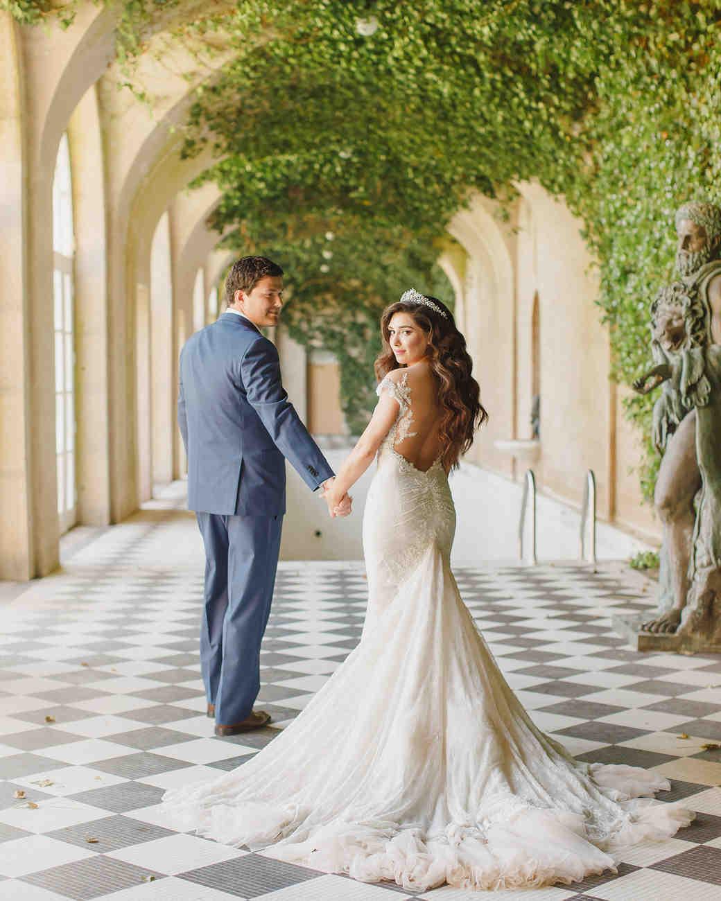 glamorous wedding ideas castle venue bride tiara