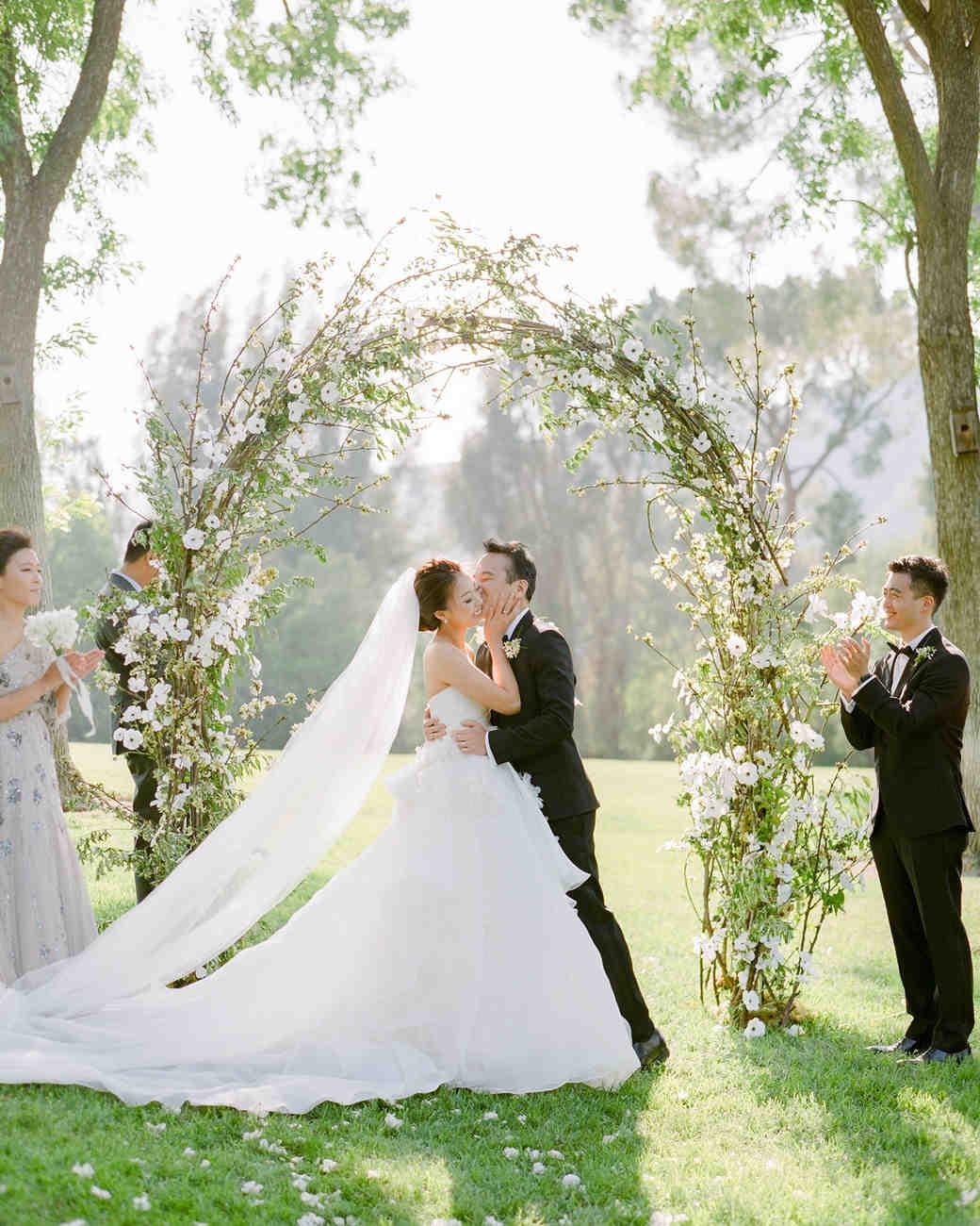 grace ceron wedding ceremony bride groom kiss