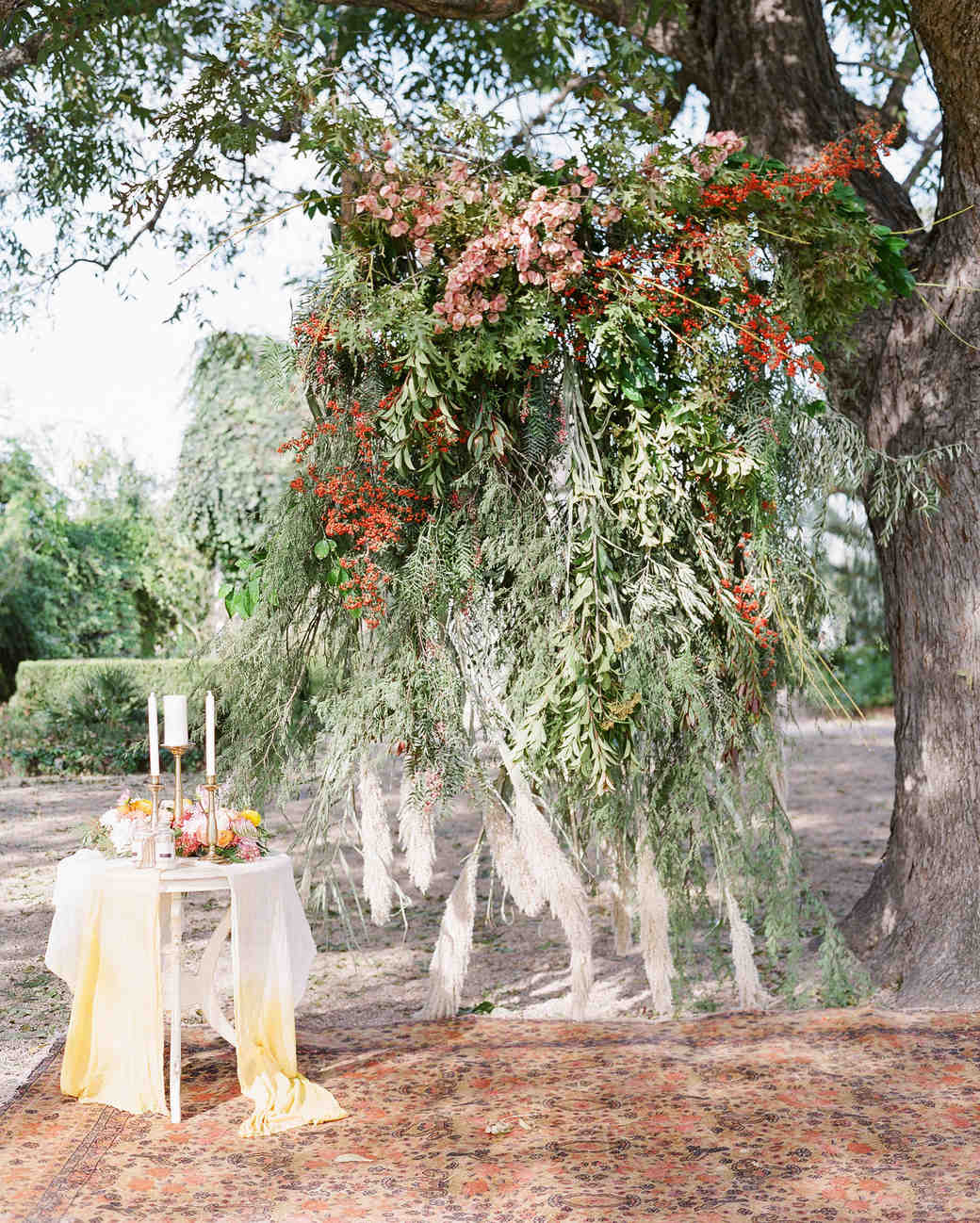 hayleigh corey wedding ceremony tree backdrop and table