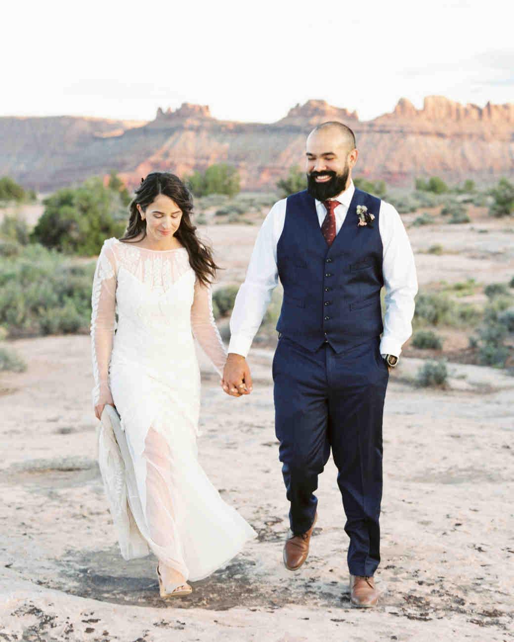 jeanette david wedding desert couple walking