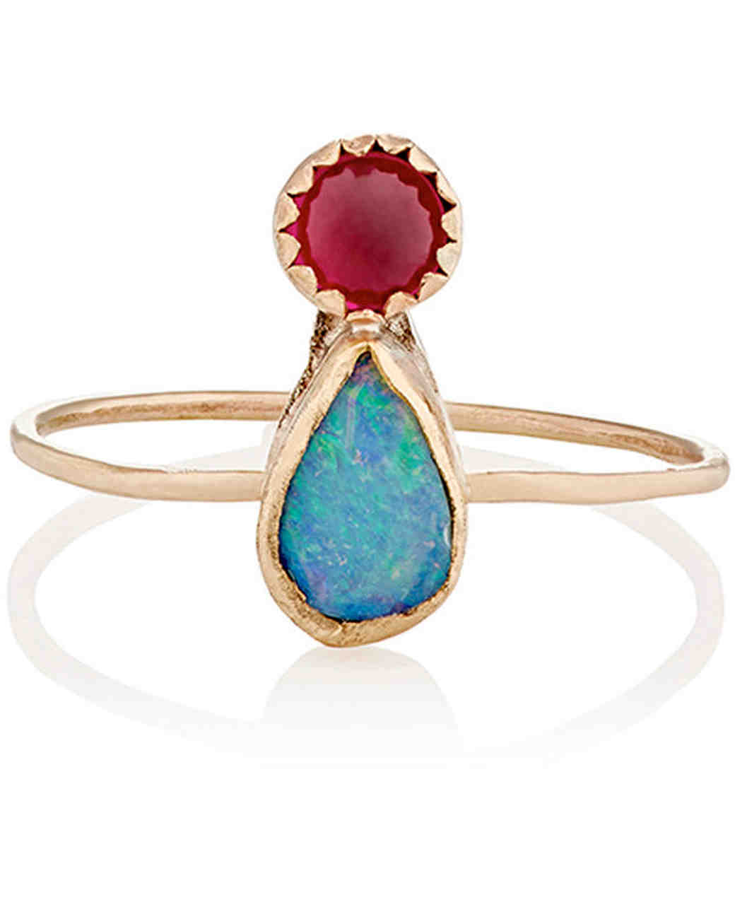 Julie Wolfe Opal & Ruby Engagement Ring