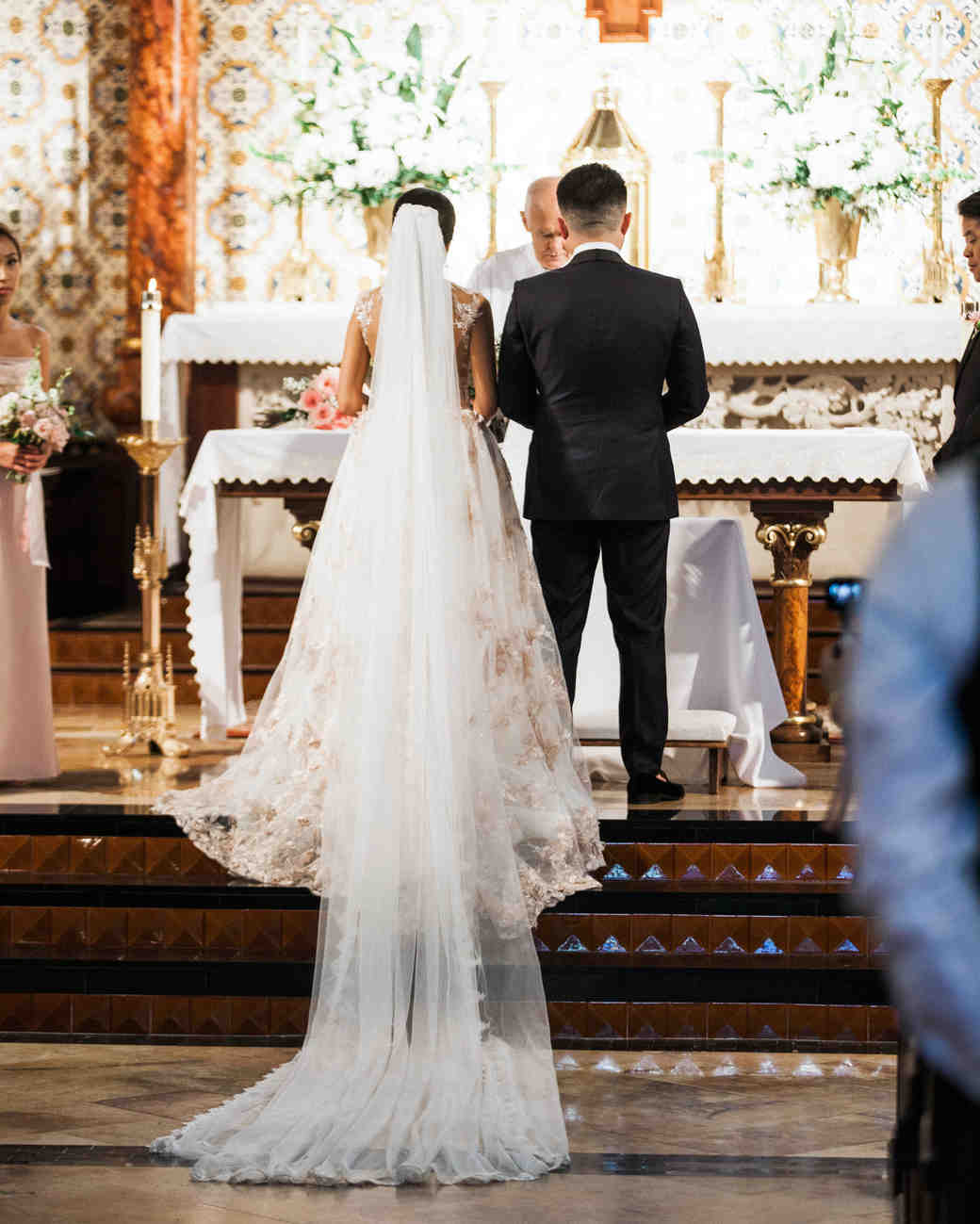chapel altar bride groom ceremony floral arrangements
