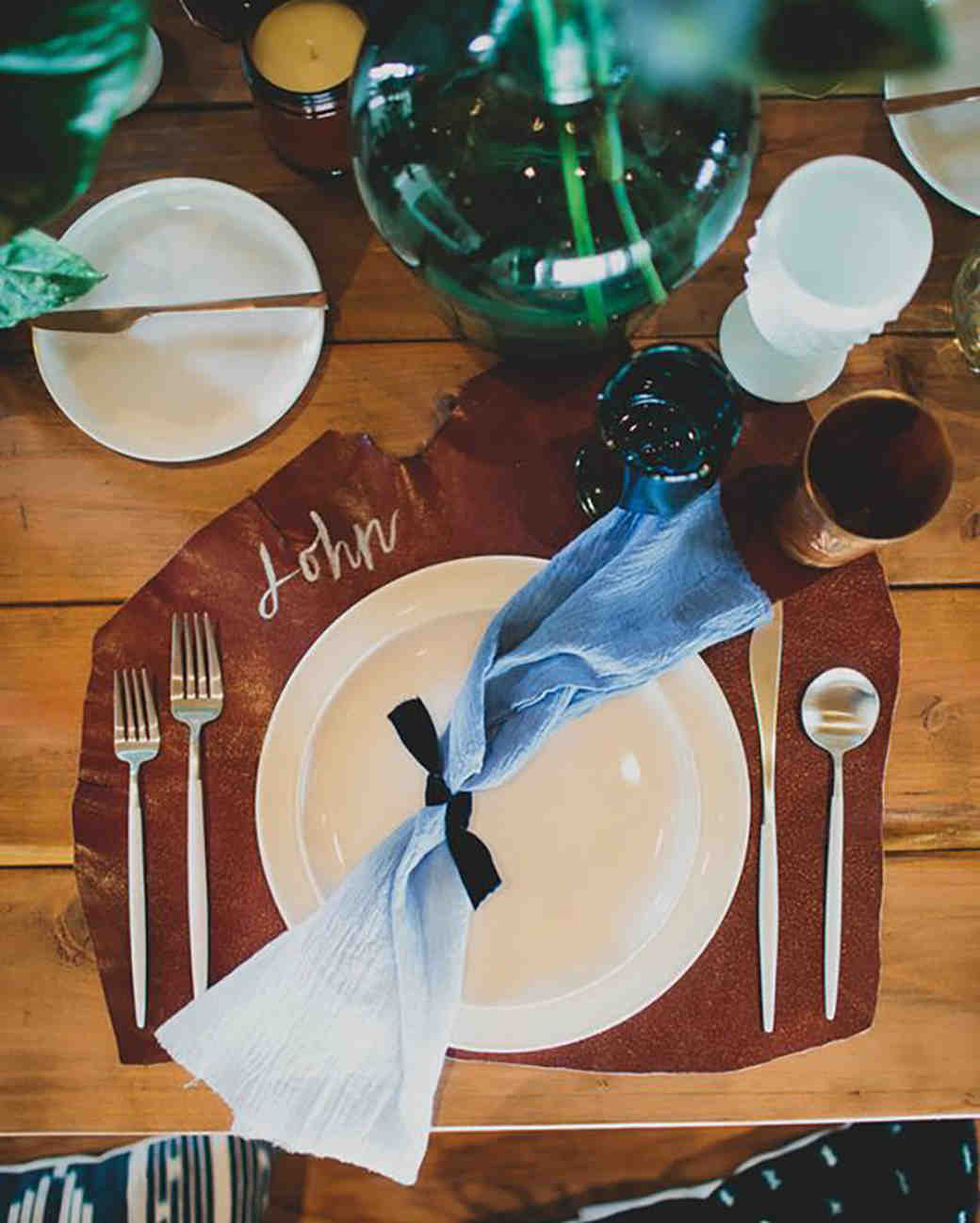 leather wedding ideas rustic placemats