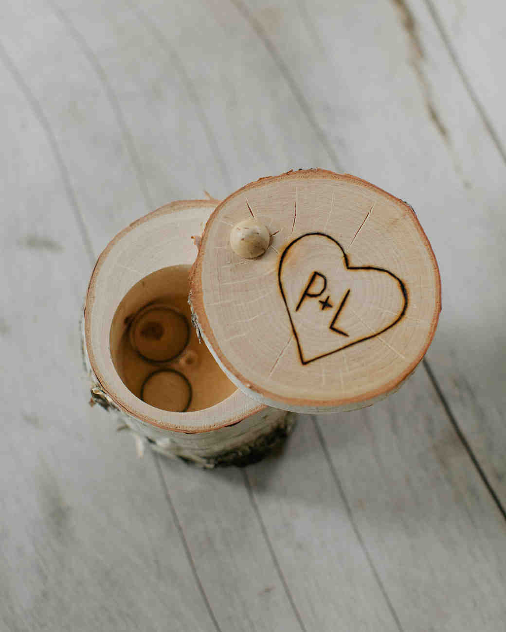wooden ring box with carved heart