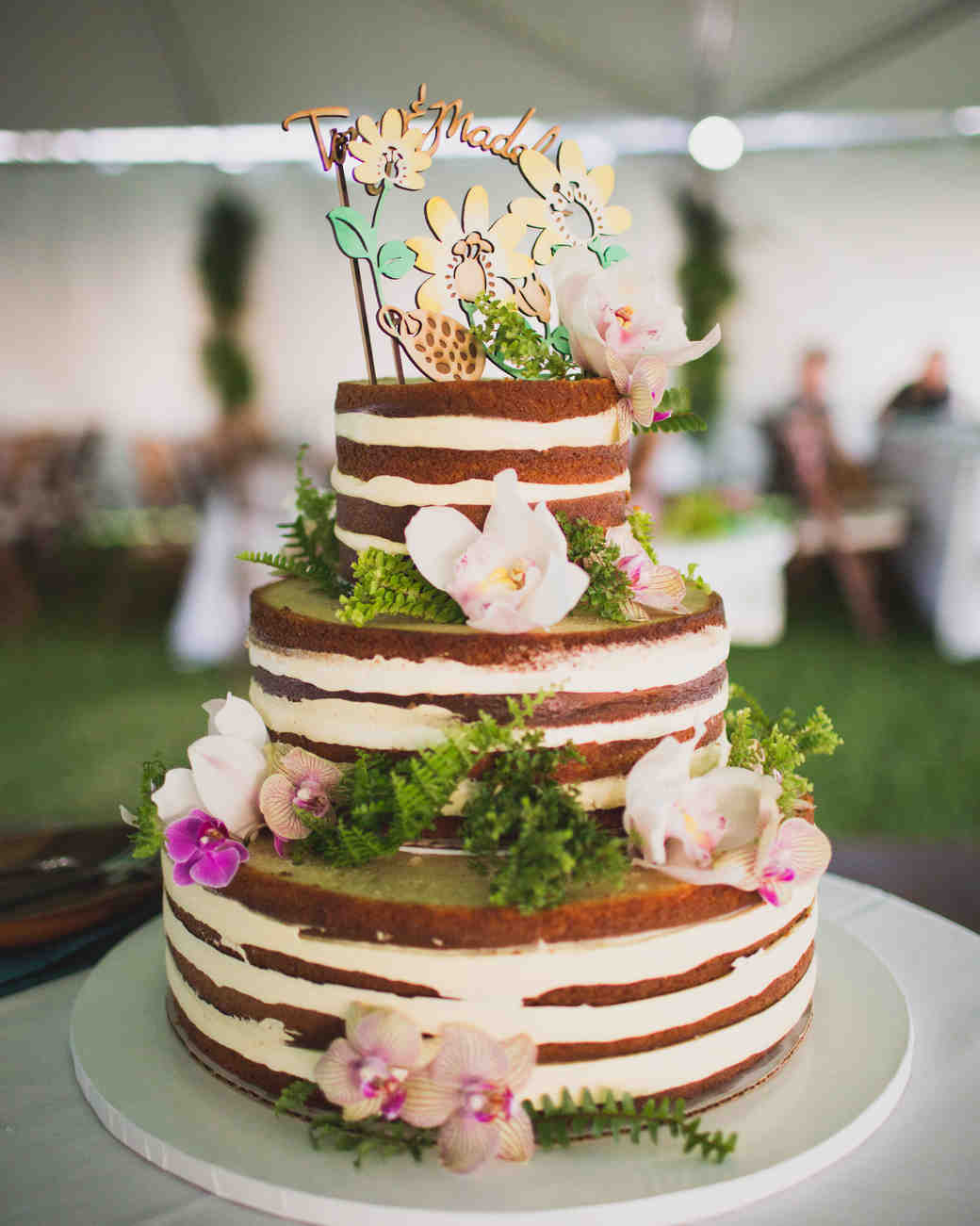 Tropical Naked Cake with Flowers and Topper