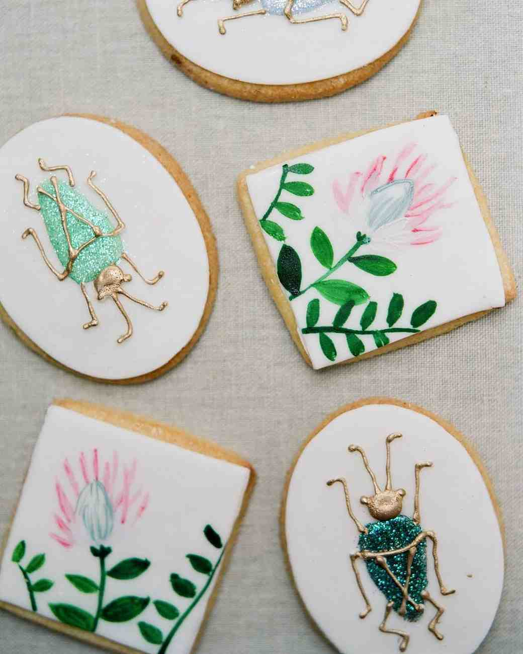 meg nick wedding painted cookies