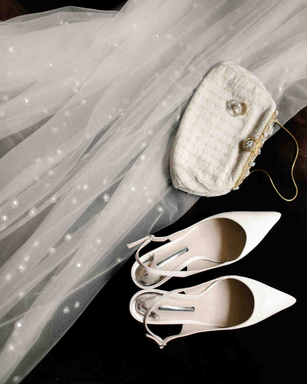 mia patrick wedding bride accessories shoes veil purse