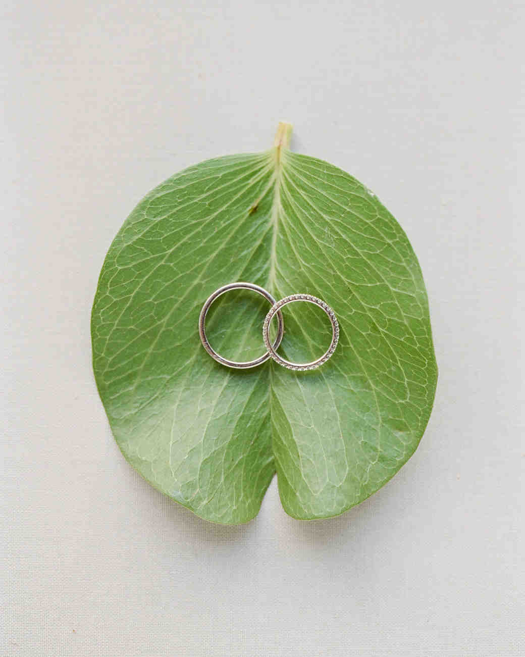 hawaiian wedding bands resting green leaf