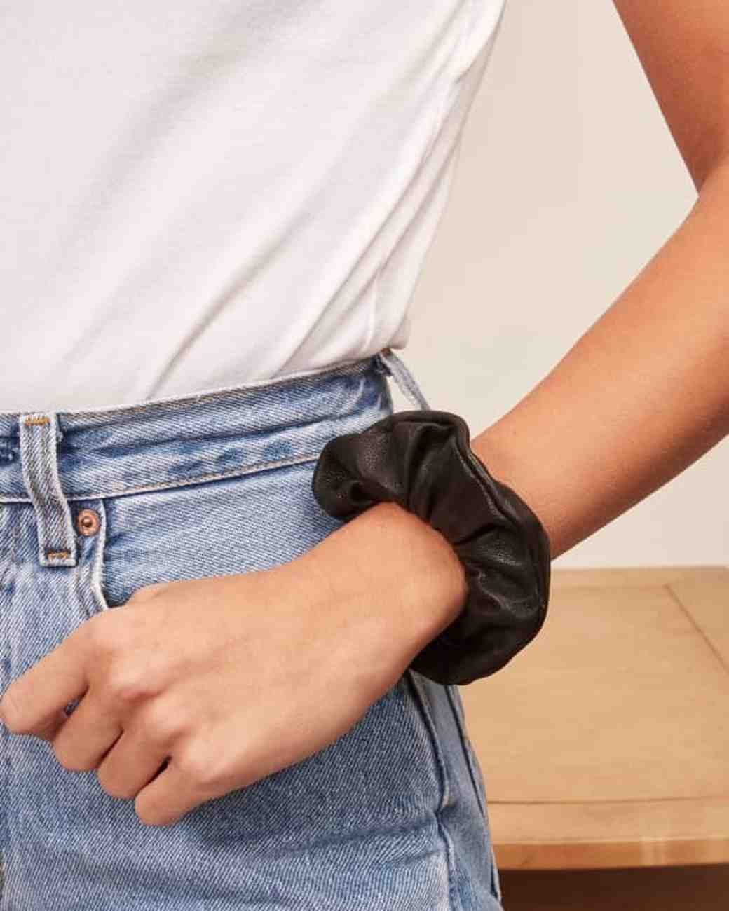 maid of honor gift guide veda leather scrunchie