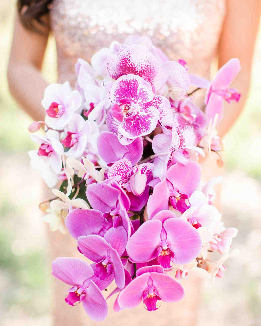 bright purple orchid wedding bouquet
