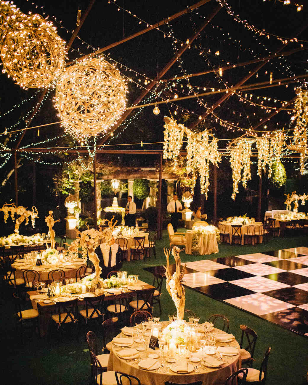 well-lit reception space at night