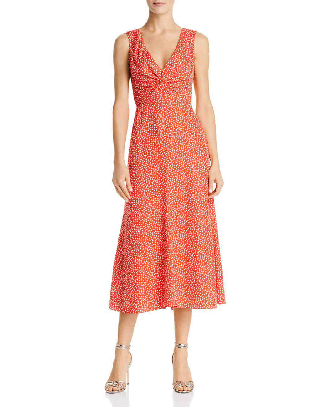 coral v-neck printed mob dress
