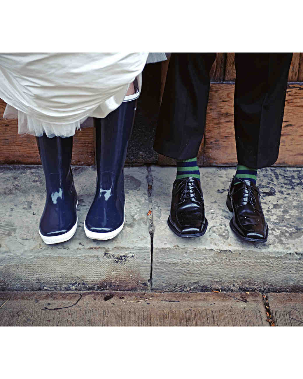 rainy wedding couple rain boots and shoes