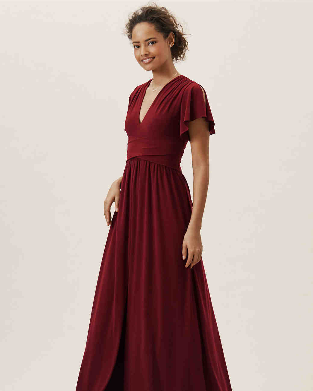 BHLDN Red Mendoza Bridesmaids Dress with Short Sleeves