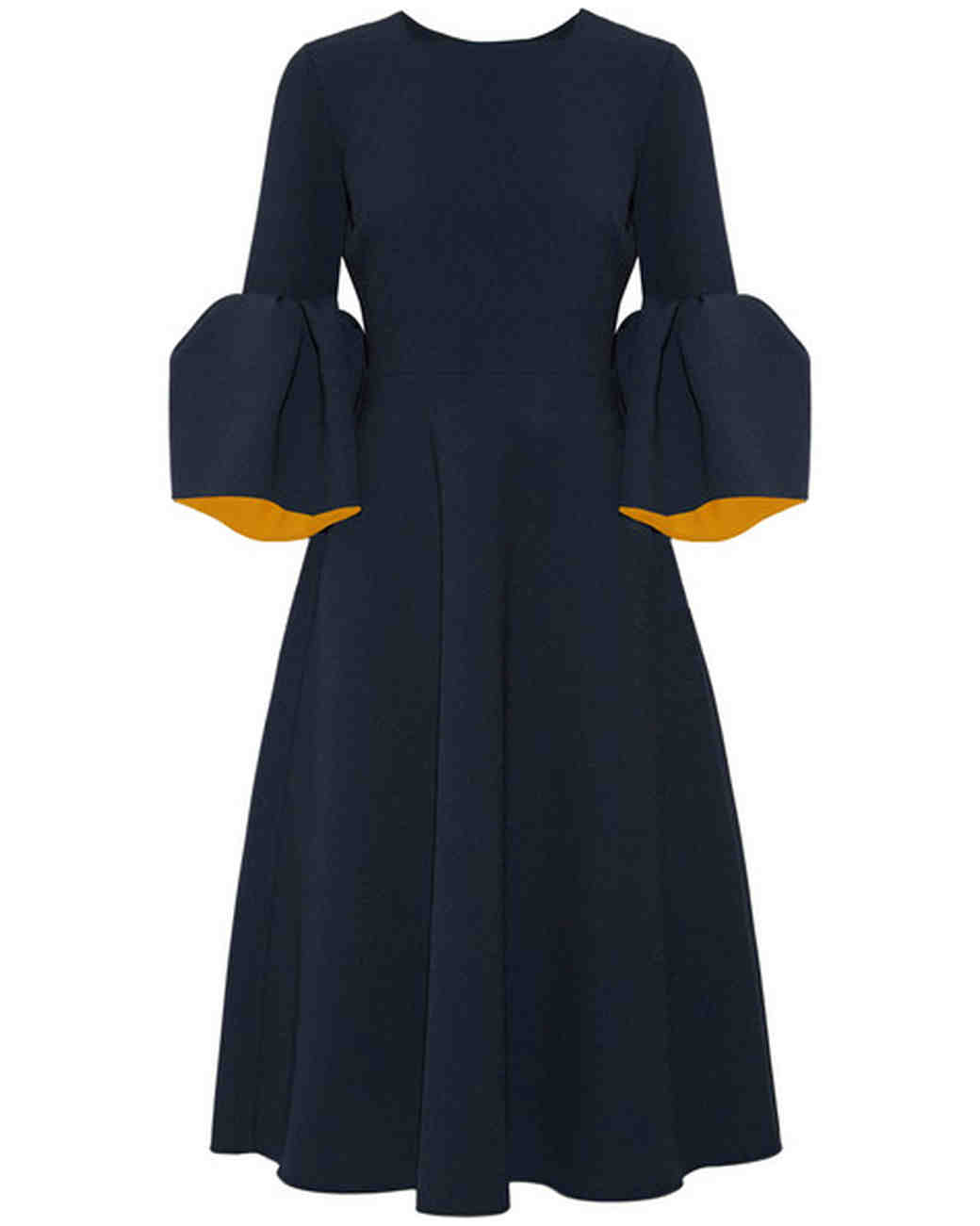 Navy Dress with Bell Sleeves