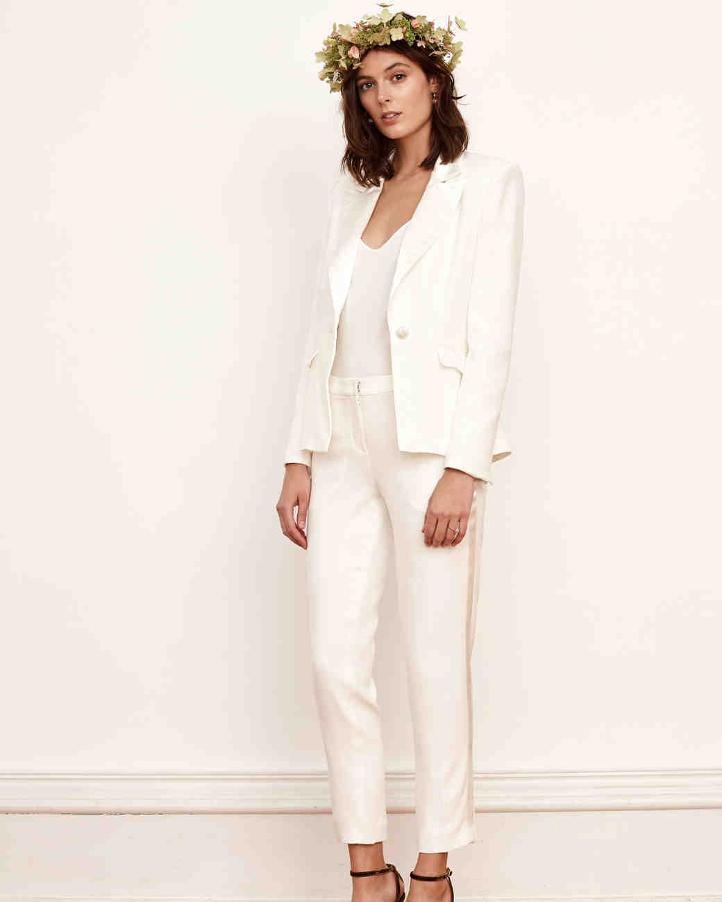 61 chic wedding suits for brides martha stewart weddings for Dress pant outfits for wedding