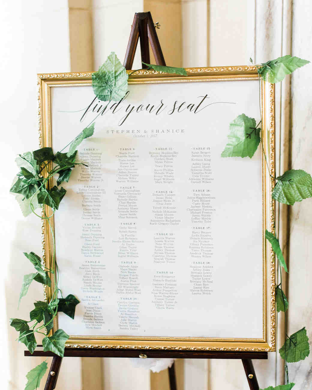 shanice & stephen wedding seating chart