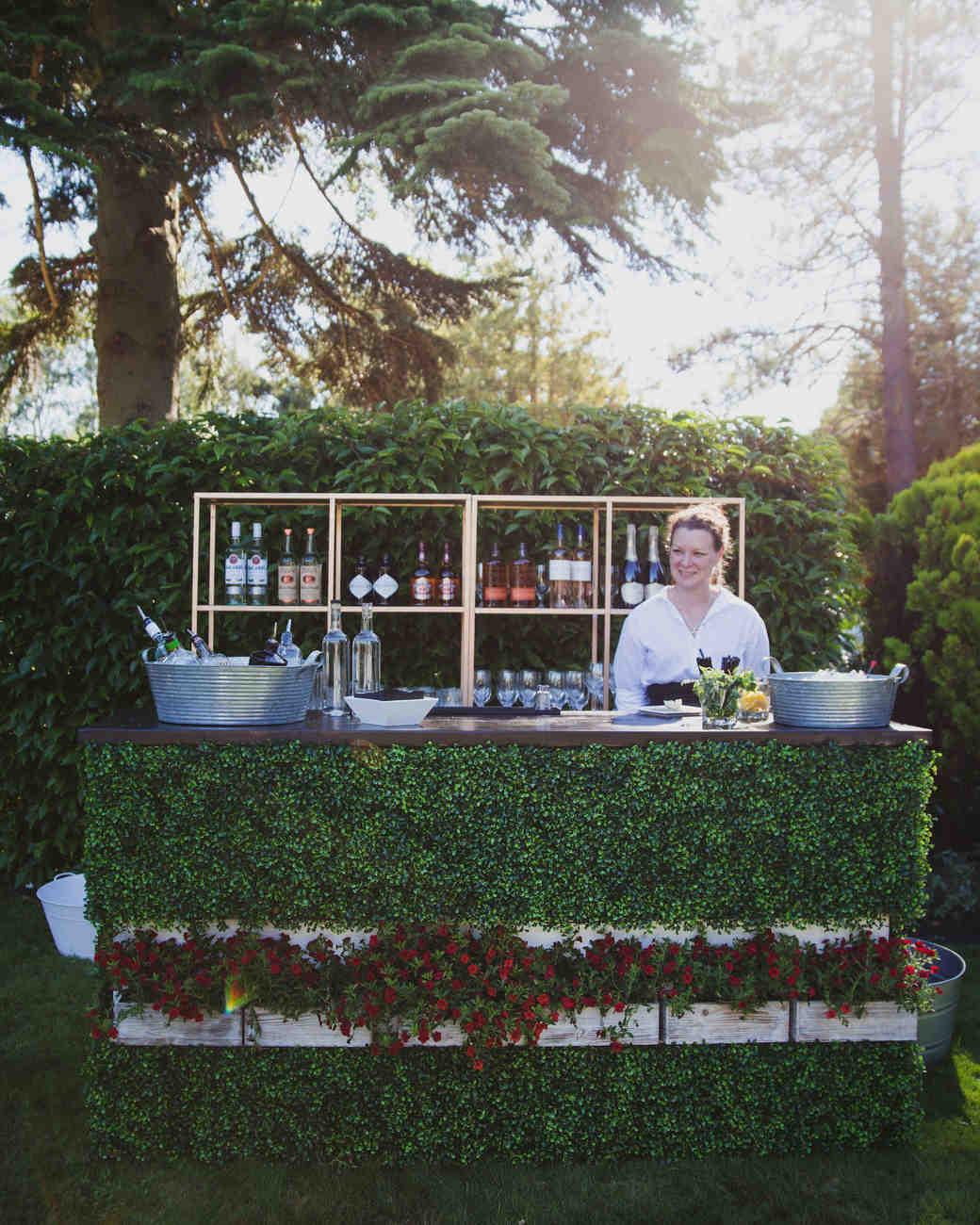 Greenery-Covered Wedding Bar