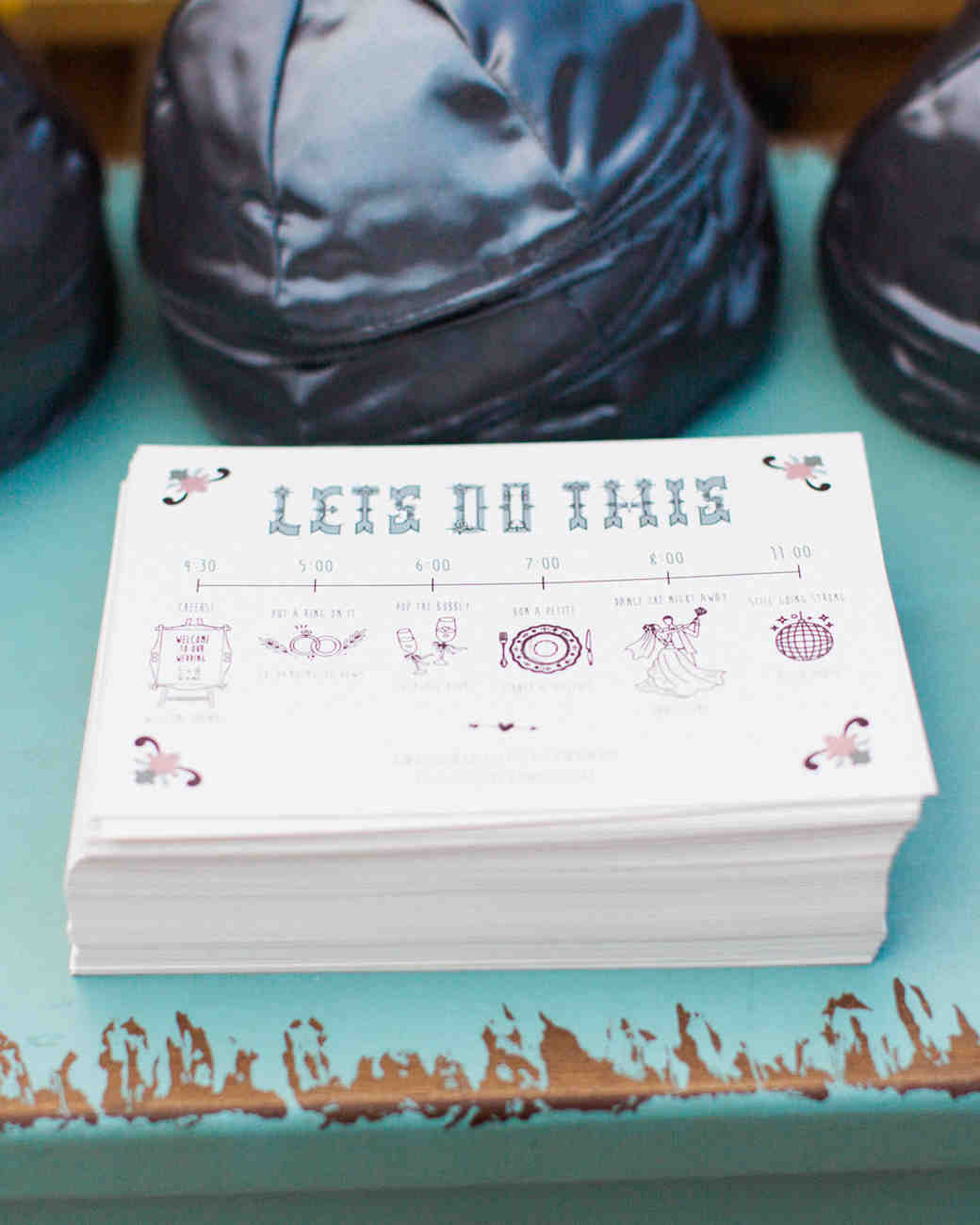 handcrafted wedding day timeline cards for guests