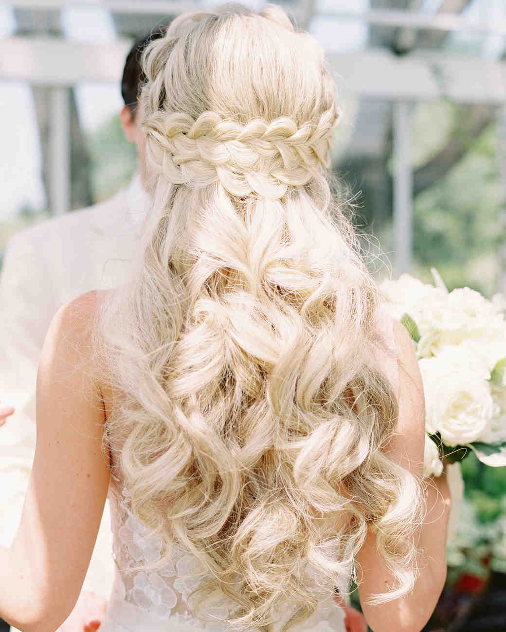 28 half up half down wedding hairstyles we love martha stewart stephanie philip wedding braid junglespirit Image collections