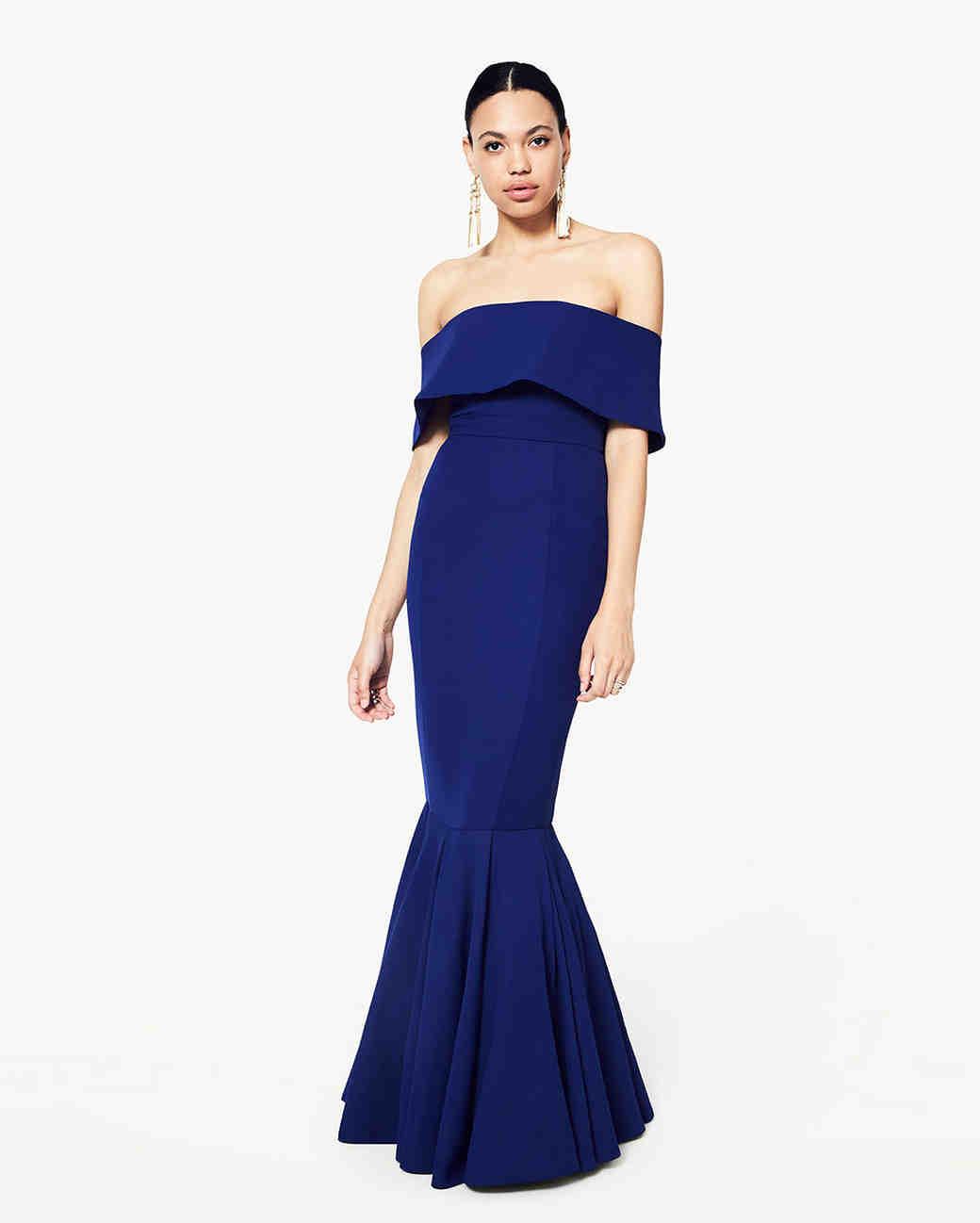 blue off shoulder gown