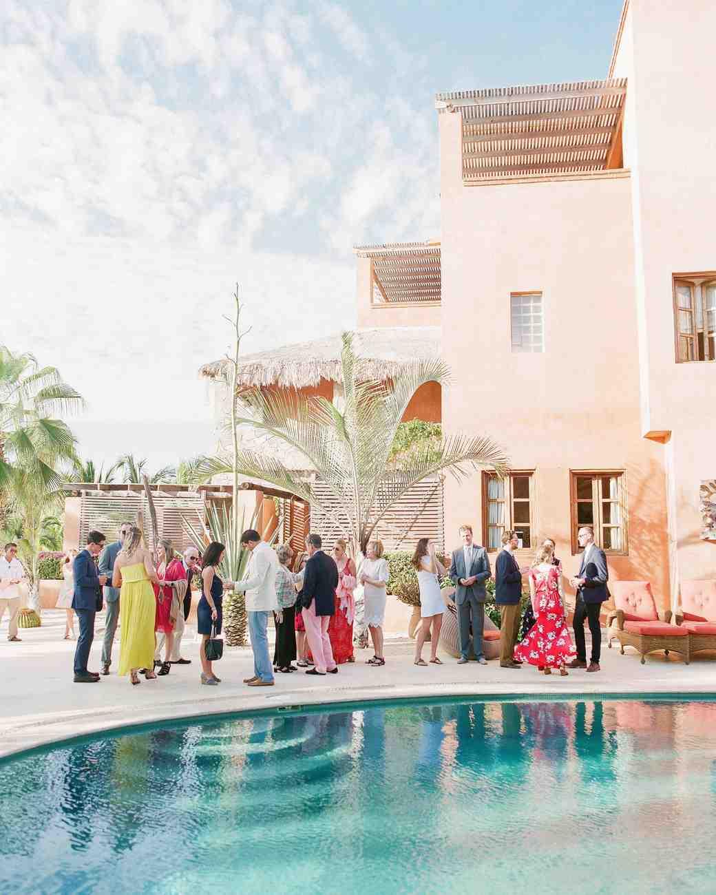 wedding guests pool