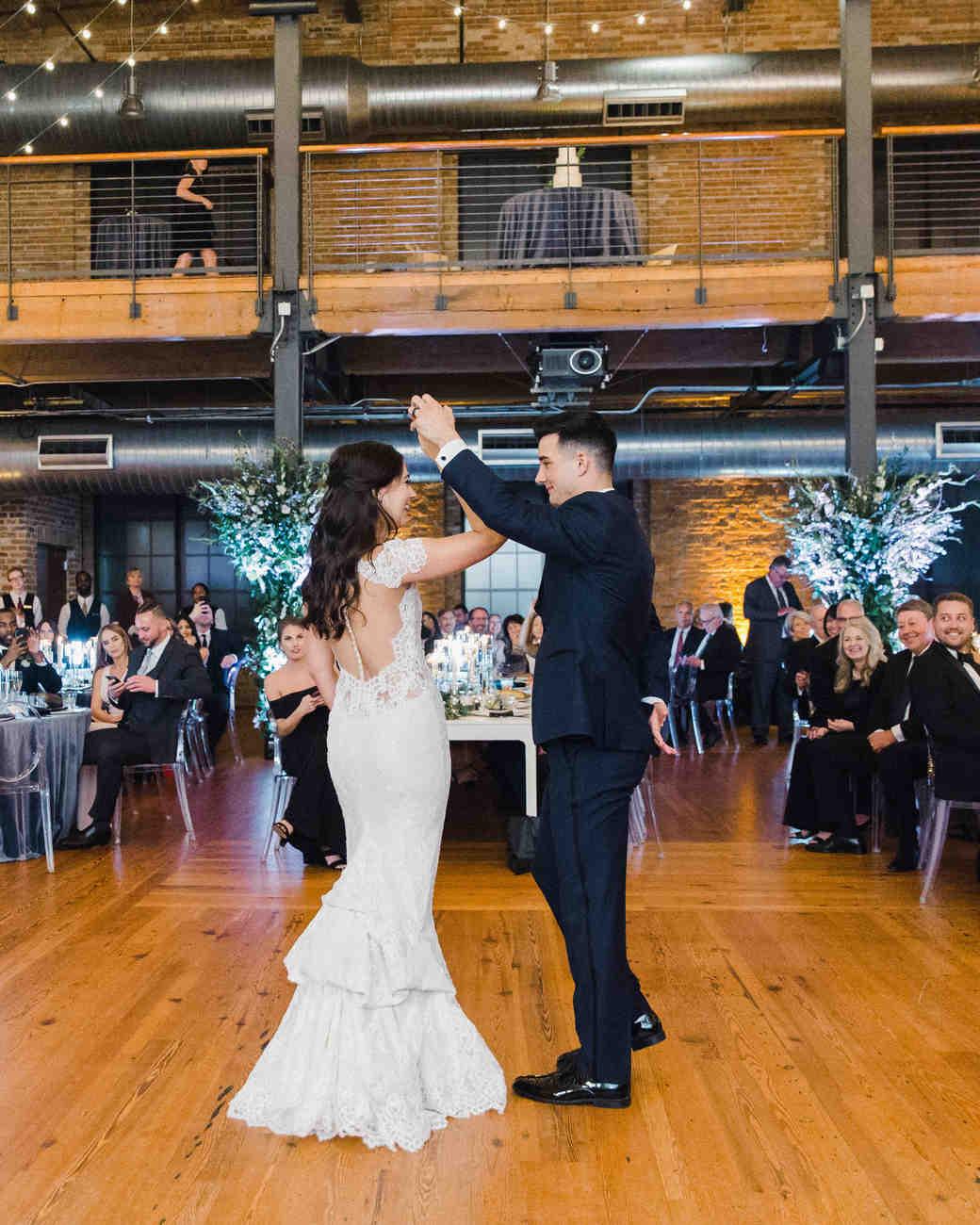 wedding reception bride groom first dance