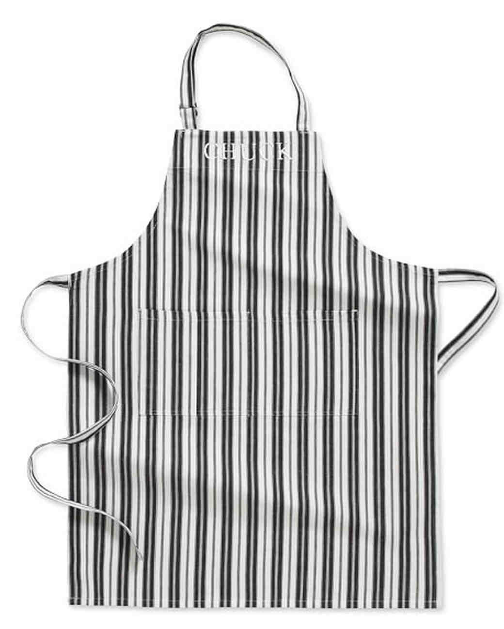 black and white apron