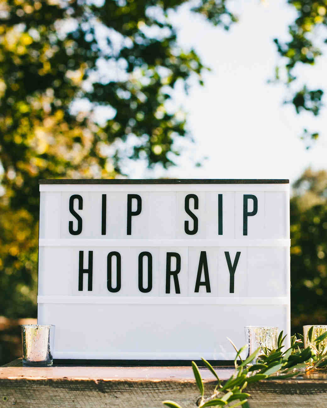 wedding bar sign sip sip hooray lettered outdoor