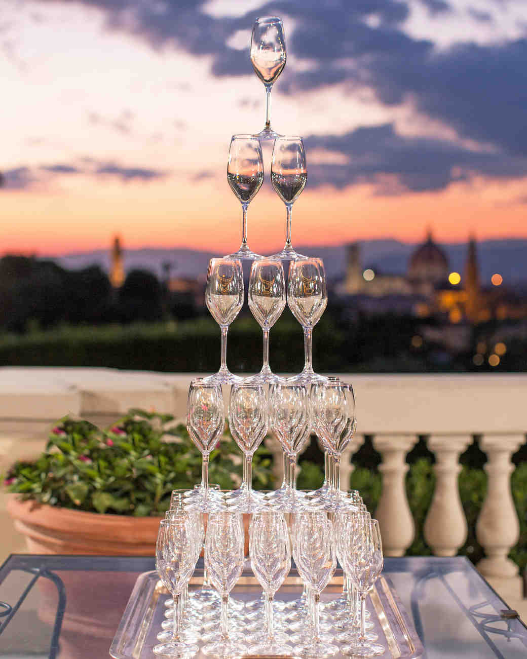 champagne tower at sunset