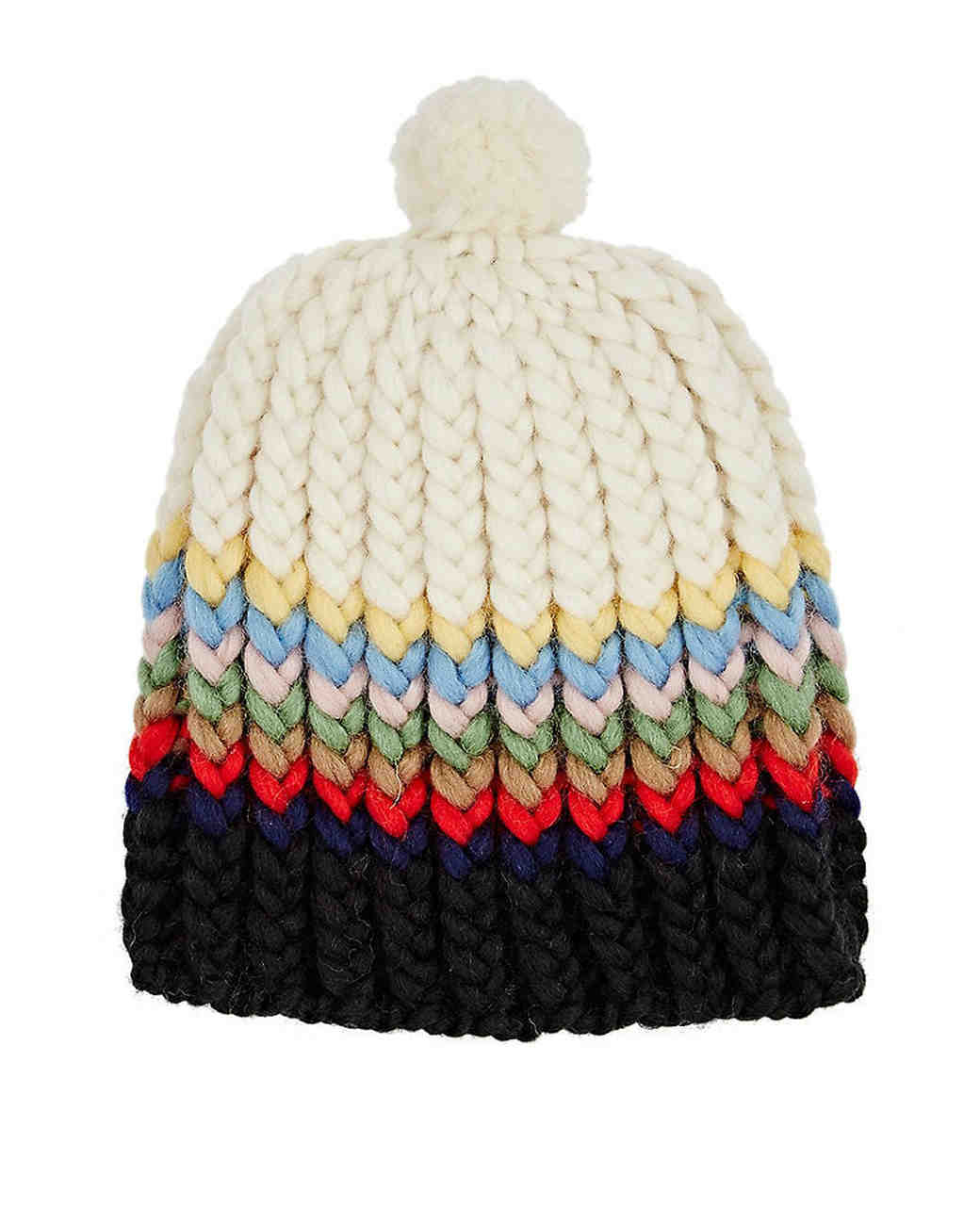 wool anniversary gift multi-color striped beanie hat