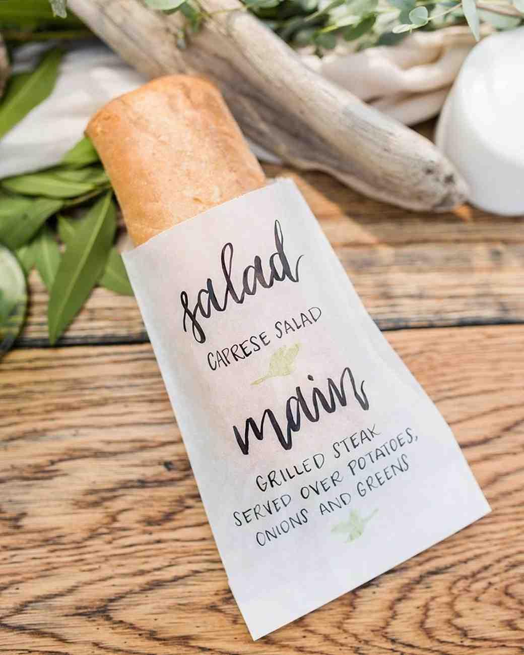 bread loaf in printed menu sleeve