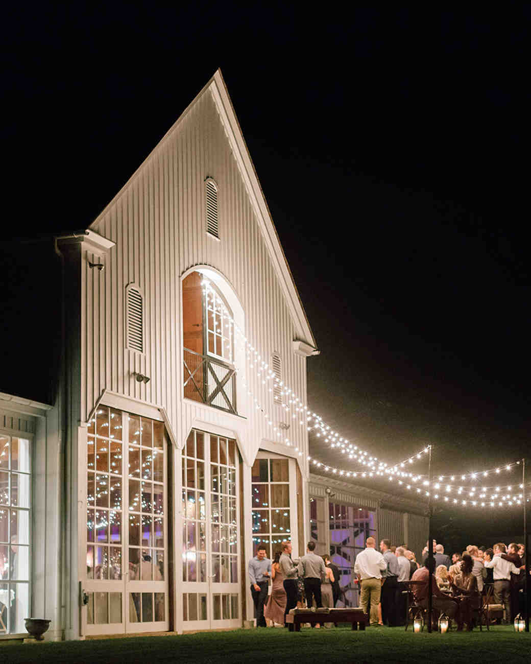 brewery wedding venues lights night reception