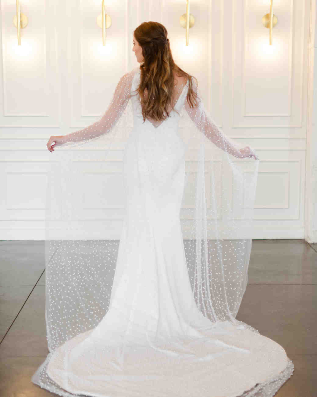bridal cape with pearls