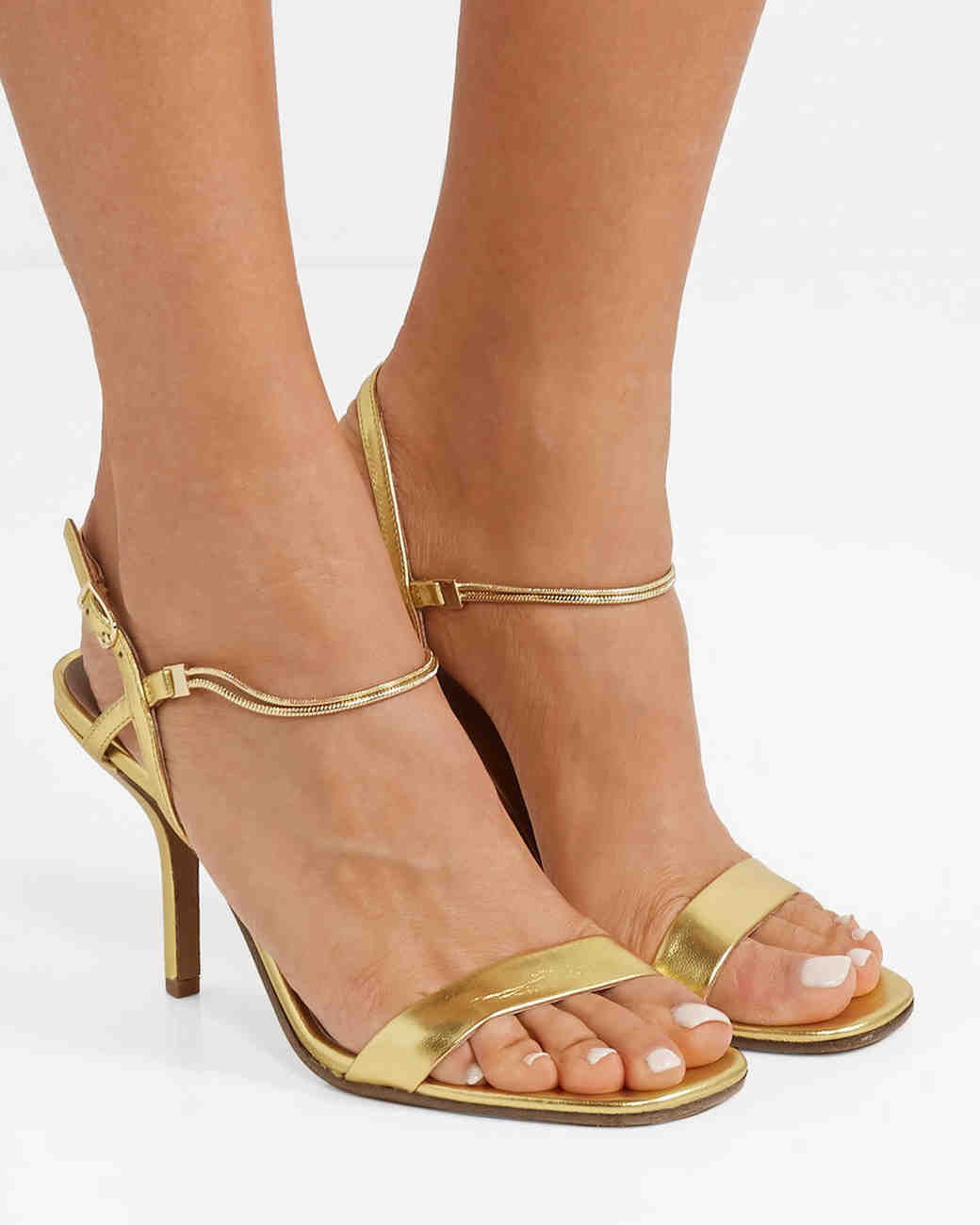 embellished metallic leather sandals bridesmaid shoes