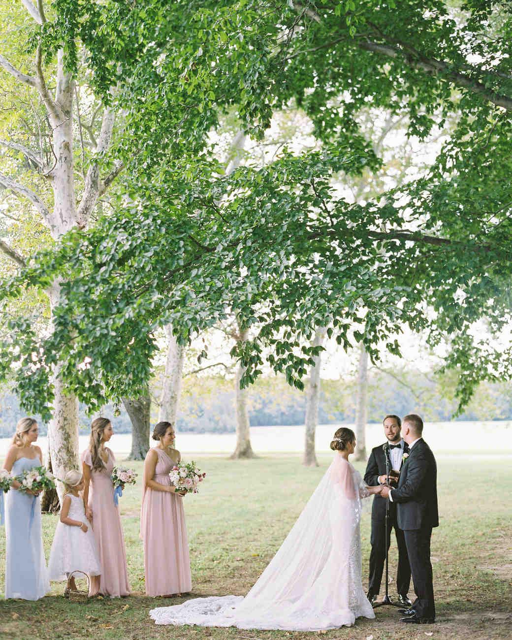 outdoor wedding ceremony bride groom bridesmaids