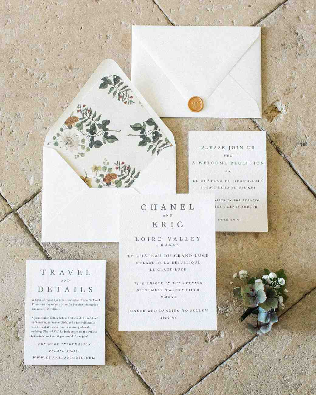 classic invitation customized floral envelope and gold wax seal