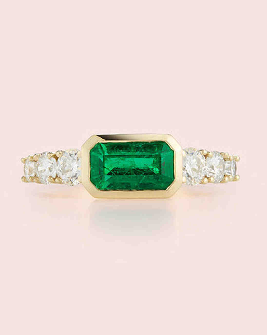east west engagement rings emerald cut and diamond