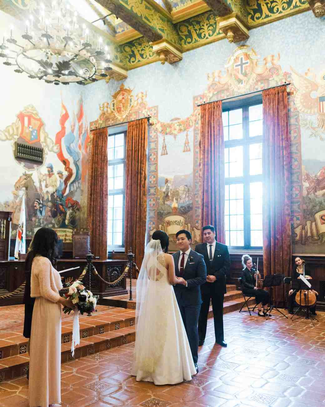 A Courthouse Wedding With A Red-and-Gray Restaurant