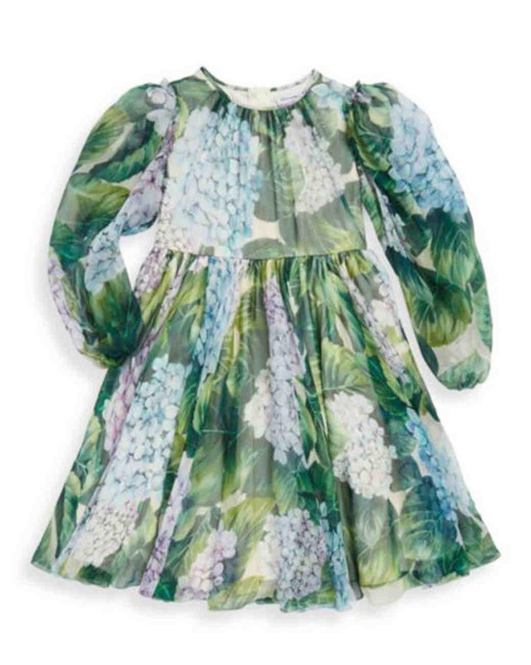 long sleeve green floral flower girl dress