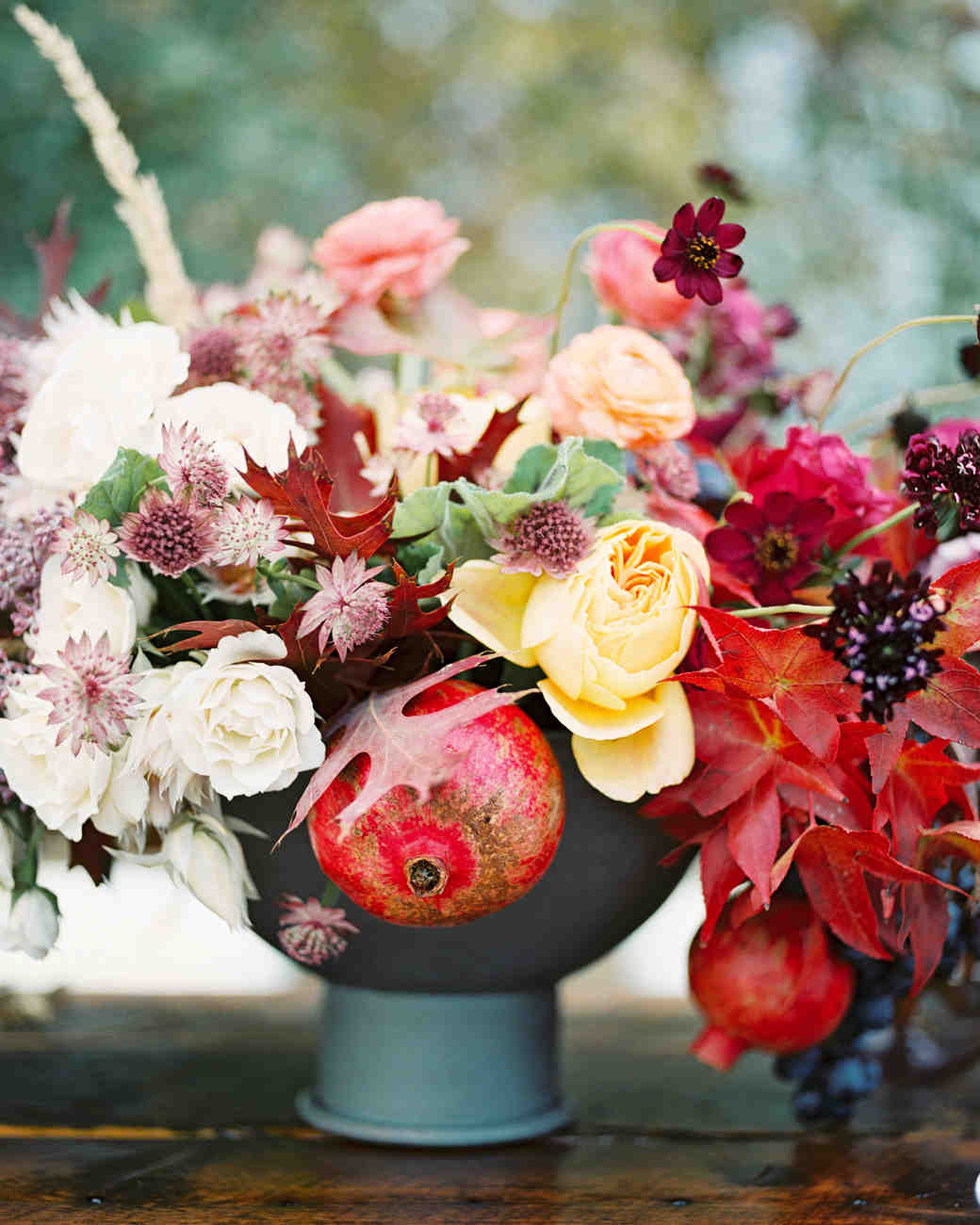 Fall Centerpiece with Foliage, Flowers, and Fruit