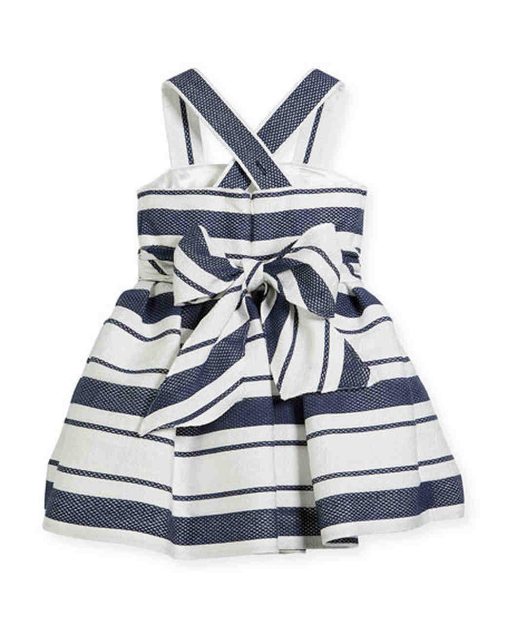 blue white stripped flower girl dress