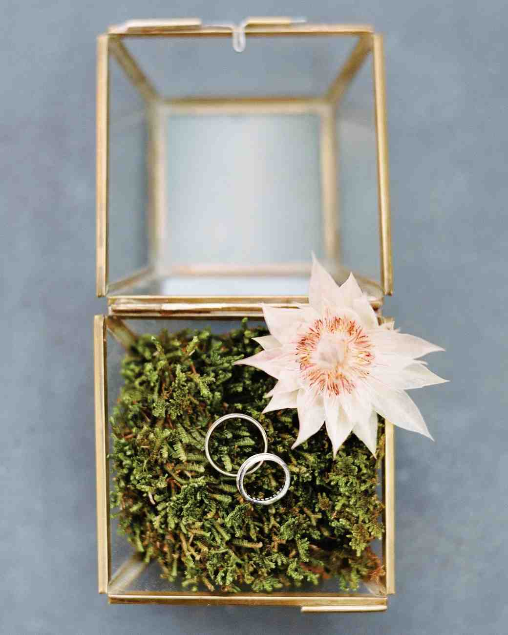 Gold Rimmed Ring Box with Moss and Flowers