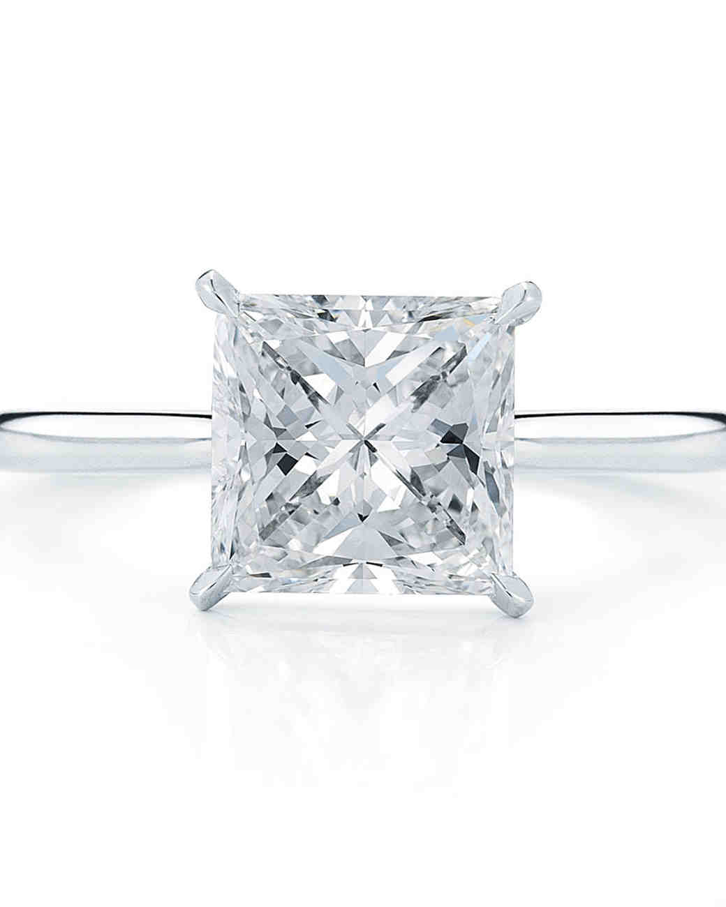princess cut diamond engagement rings martha stewart weddings - Square Cut Wedding Rings