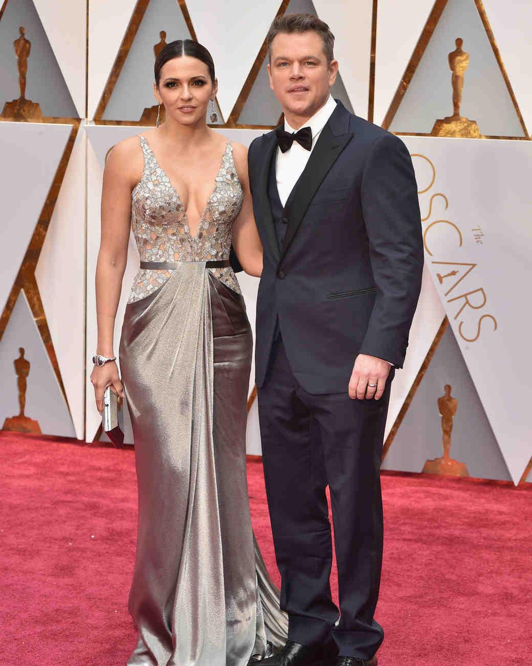 Matt Damon and  Luciana Barroso 2017 OscarsRed Carpet