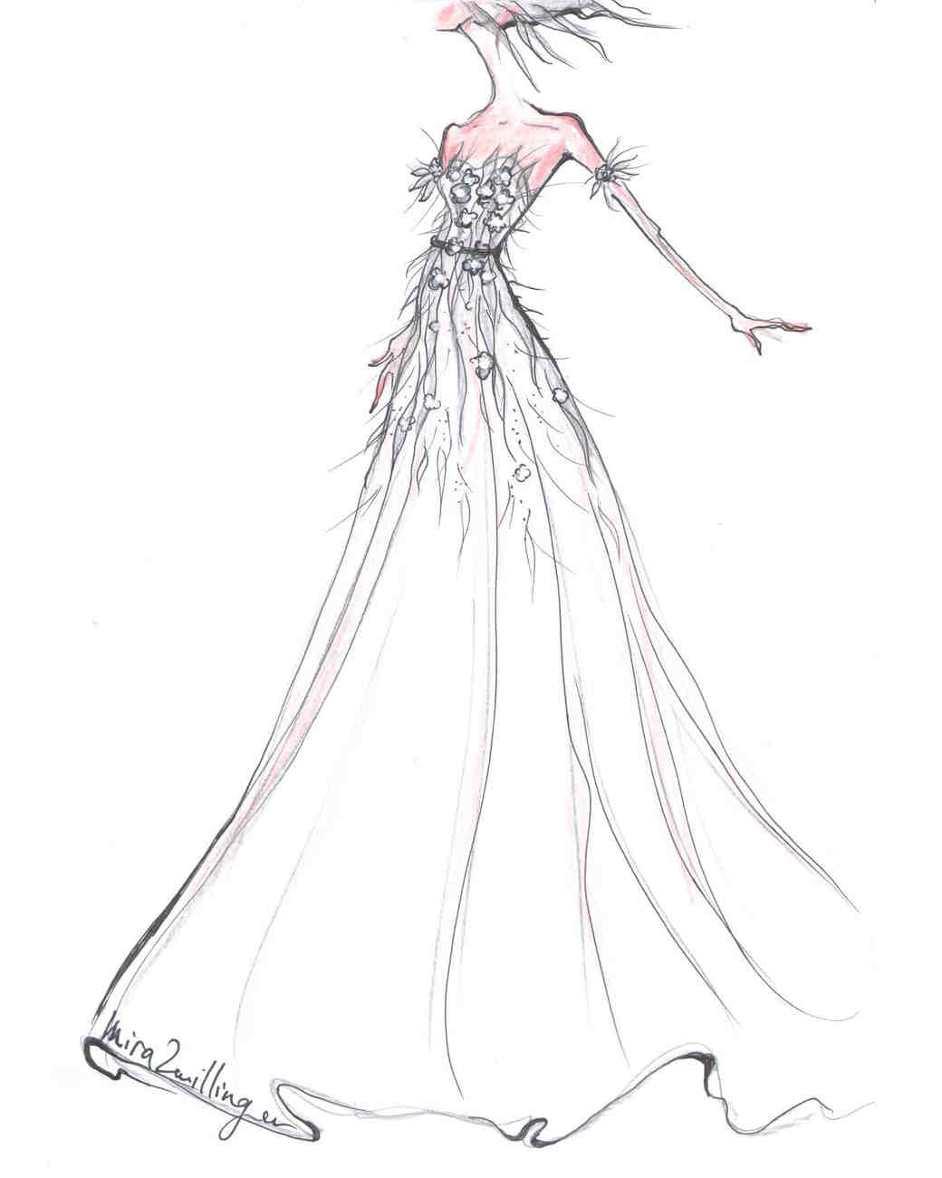 mira zwillinger wedding dress sketch