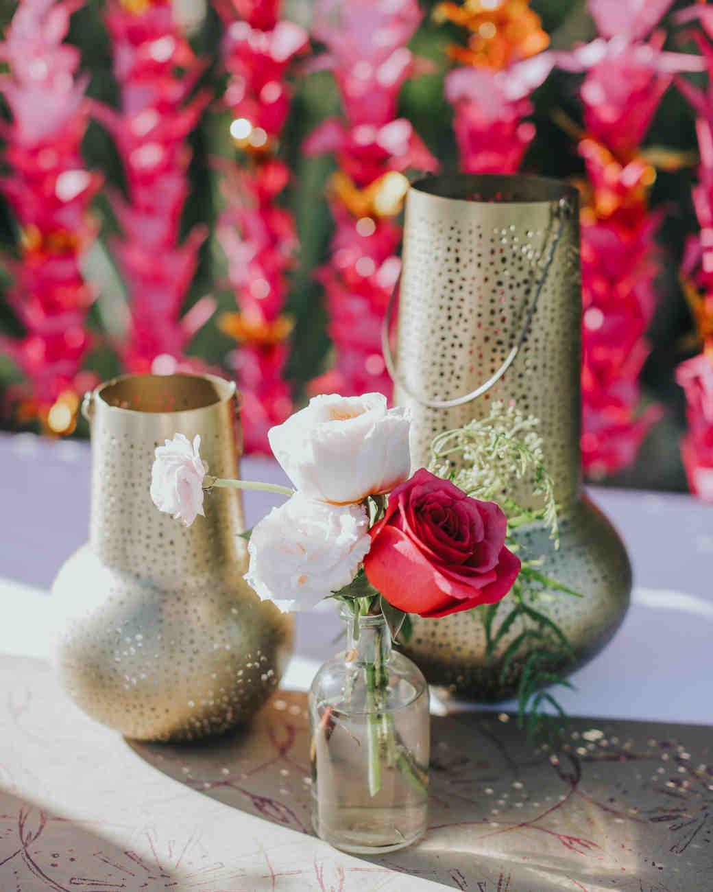 Brass candle holder wedding centerpiece